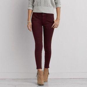 American Eagle burgundy red skinny jeans!